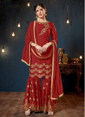 Satin Sharara Salwar Suit