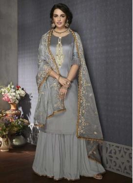Satin Sharara Salwar Suit For Ceremonial