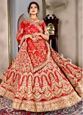 Satin Silk A - Line Lehenga For Bridal