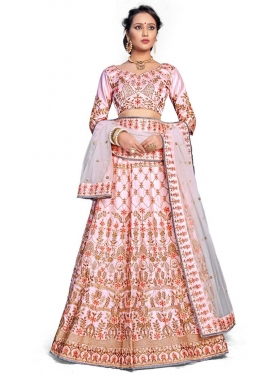 Satin Silk A - Line Lehenga For Party