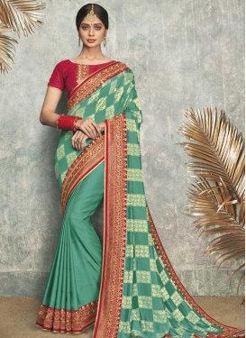 Satin Silk Aqua Blue and Red Designer Contemporary Saree