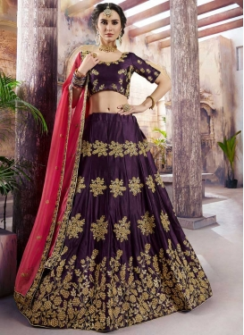 Satin Silk Beads Work A Line Lehenga Choli