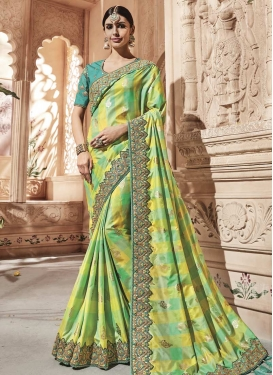 Satin Silk Beads Work Classic Designer Saree