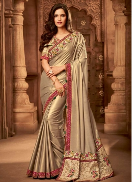 Satin Silk Beads Work Classic Saree
