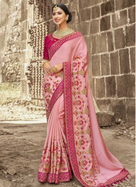 Satin Silk Beads Work Contemporary Style Saree