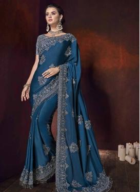 Satin Silk Beads Work Designer Traditional Saree