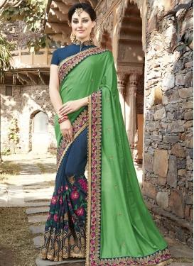 Satin Silk Beads Work Half N Half Trendy Saree