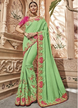 Satin Silk Beads Work Mint Green and Rose Pink Designer Contemporary Style Saree