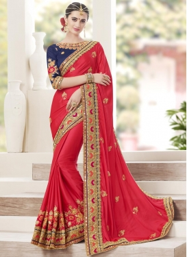 Satin Silk Beads Work Navy Blue and Rose Pink Contemporary Style Saree