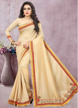 Satin Silk Beads Work Traditional Designer Saree