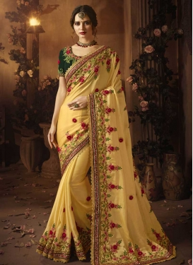 Satin Silk Beads Work Trendy Saree