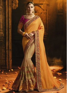 Satin Silk Beige and Orange Half N Half Trendy Saree