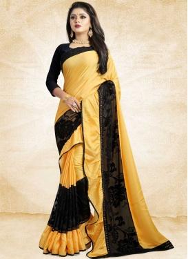 Satin Silk Black and Gold Classic Designer Saree