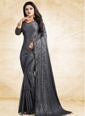 Satin Silk Black and Grey Digital Print Work Trendy Classic Saree