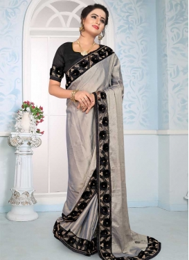 Satin Silk Black and Grey Traditional Saree