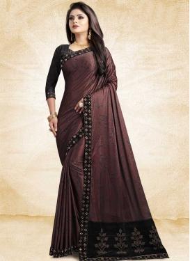Satin Silk Black and Maroon Traditional Designer Saree For Festival