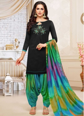 Satin Silk Black and Multi Colour Beads Work Patiala Salwar Kameez
