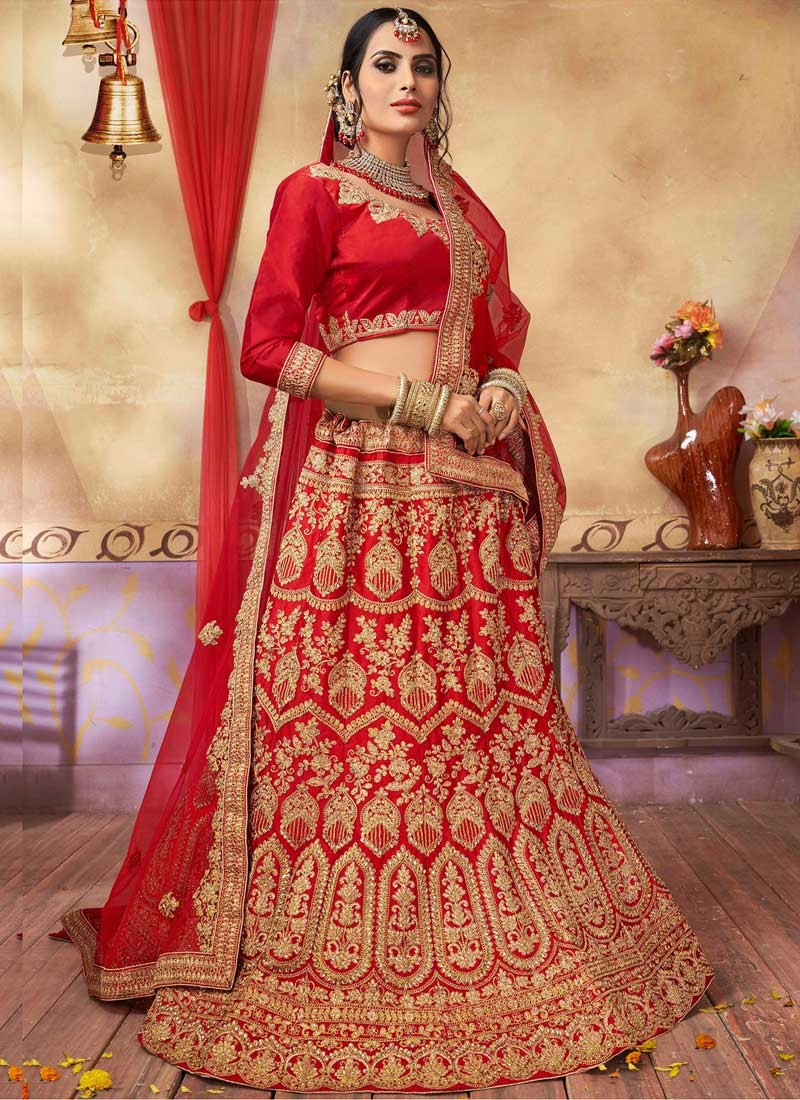 Satin Silk Booti Work Trendy A Line Lehenga Choli
