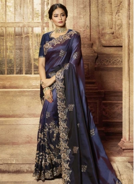 Satin Silk Booti Work Trendy Classic Saree