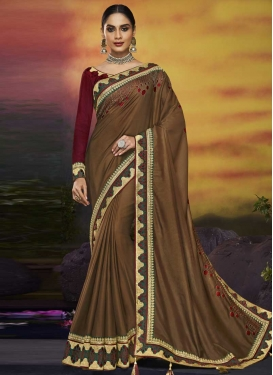 Satin Silk Brown and Maroon Contemporary Saree For Ceremonial