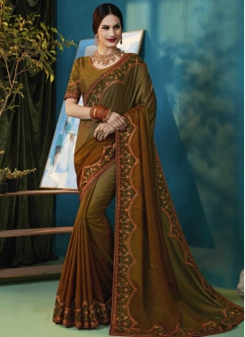 Satin Silk Brown and Olive Classic Saree