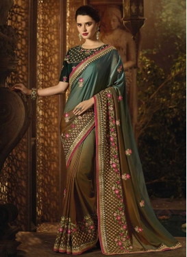 Satin Silk Brown and Teal Traditional Designer Saree