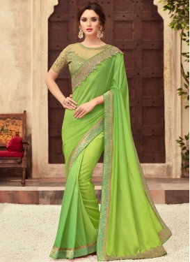 Satin Silk Contemporary Style Saree For Festival
