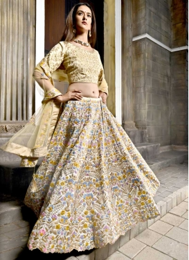 Satin Silk Cream and Off White Lehenga Choli