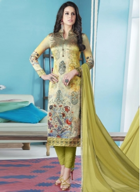 Satin Silk Cream and Olive Digital Print Work Pant Style Pakistani Salwar Suit