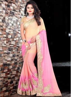 Satin Silk Cream and Pink Contemporary Style Saree For Ceremonial