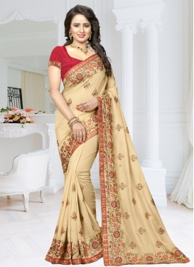 Satin Silk Cream and Red Embroidered Work Classic Saree