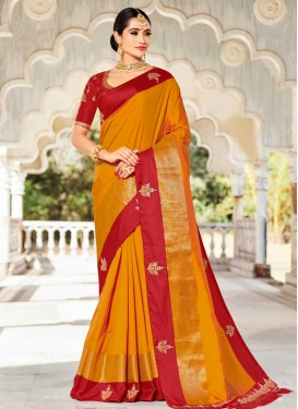 Satin Silk Crimson and Orange Beads Work Designer Contemporary Style Saree