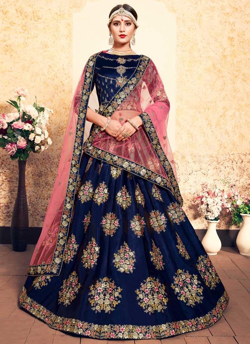 Satin Silk Designer A Line Lehenga Choli For Festival