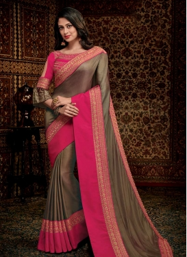 Satin Silk Designer Contemporary Saree For Ceremonial
