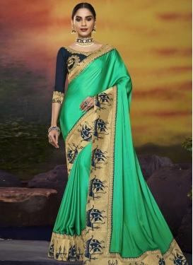 Satin Silk Designer Contemporary Saree For Festival