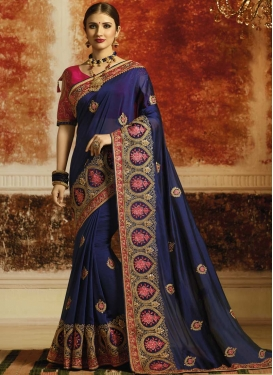 Satin Silk Designer Contemporary Style Saree For Ceremonial