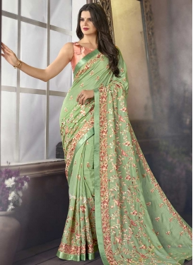 Satin Silk Designer Contemporary Style Saree For Festival