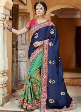 Satin Silk Designer Half N Half Saree
