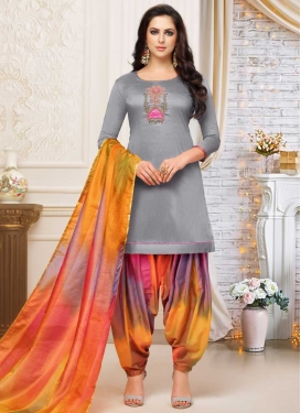 Satin Silk Designer Patiala Salwar Kameez For Festival