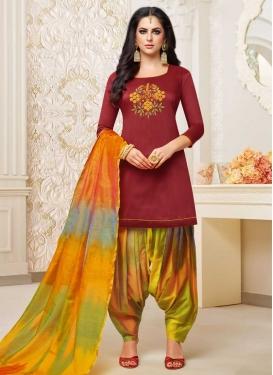 Satin Silk Designer Patiala Salwar Suit