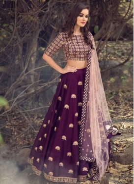 Satin Silk Embroidered Work A - Line Lehenga