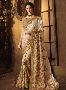 Satin Silk Embroidered Work Beige and Off White Trendy Classic Saree