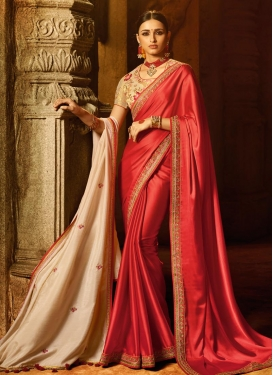 Satin Silk Embroidered Work Beige and Tomato Contemporary Style Saree