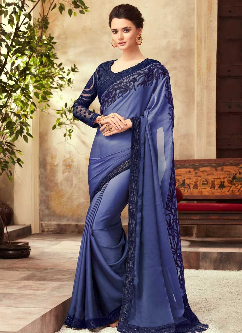 Satin Silk Embroidered Work Blue and Navy Blue Trendy Saree