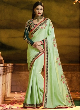 Satin Silk Embroidered Work Bottle Green and Mint Green Designer Traditional Saree