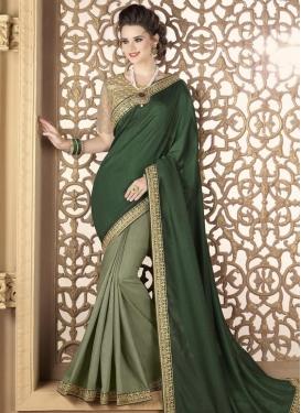 Satin Silk Embroidered Work Bottle Green and Olive Half N Half Trendy Saree
