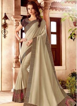 Satin Silk Embroidered Work Coffee Brown and Cream Trendy Saree