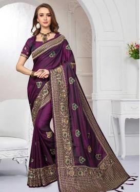 Satin Silk Embroidered Work Contemporary Saree