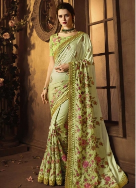 Satin Silk Embroidered Work Designer Contemporary Style Saree