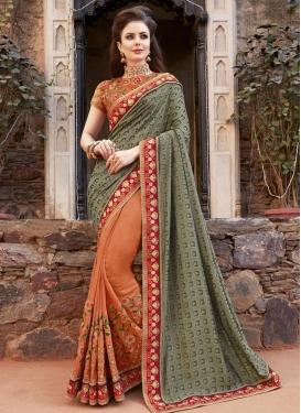 Satin Silk Embroidered Work Designer Half N Half Saree